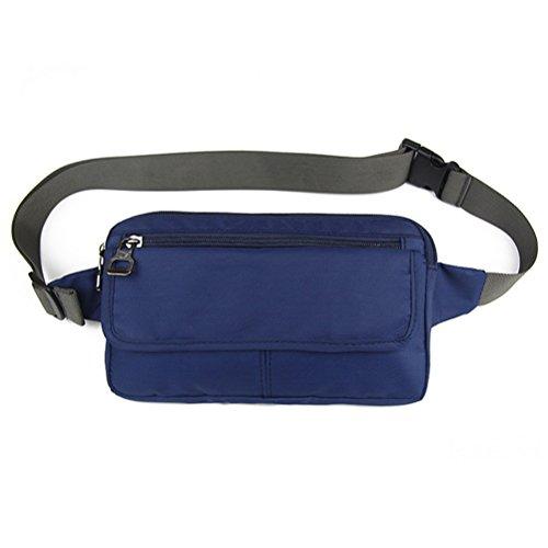 Ultraslim Nylon Waterproof Stealth Small Casual Travel Waist Bag Packs Navy Blue