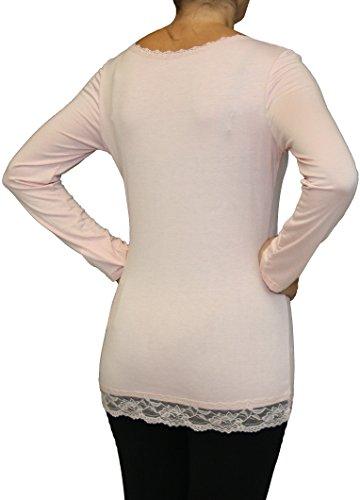 0183 Viskose Damen Shirt aus Viskose, one size , rosa.