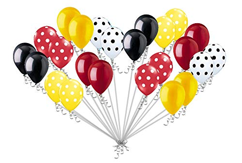 24 pc Mickey Mouse Inspired Polka Dot Latex Balloons Party Decoration Red Yellow Black -