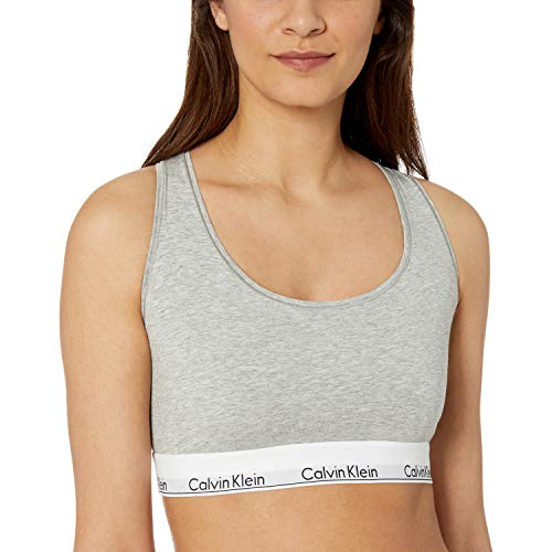 Calvin Klein Women's Regular Modern Cotton Bralette, Grey Heather, Xl