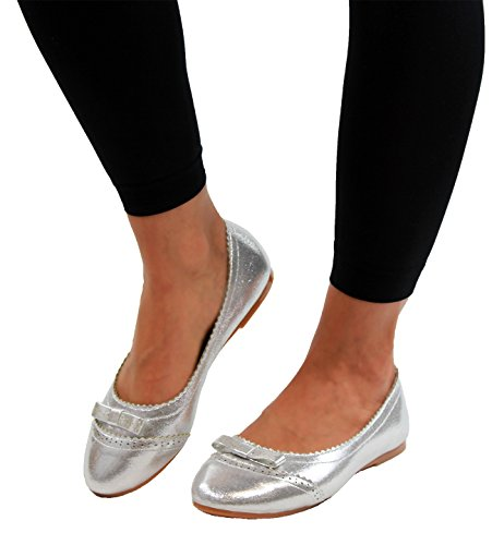 Bow Silver Brogue Ballerina Glitter Casual New Shoes Ballet Loafers Womens Pumps Flat FPA5Fxqgw