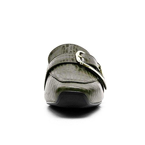 GREEN Flneurs NVXIE Glisser Carré EUR39UK665 sur Talon Femmes Travail Faible Ceinture Bateau Cuir Pompes Confortable Tête Boucle Décontractée en Marchant Bloc Noir Chaussures w11qtr5