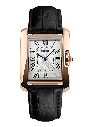 Carrie Hughes Womens Watches Rose Gold Case Roman Numeral Luxury Wristwatch Black Leather Strap Watch CH297