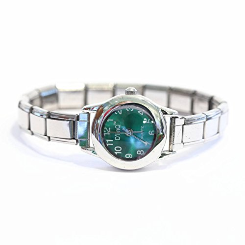 Dark Green Round Italian Charm Watch Silvertone Band