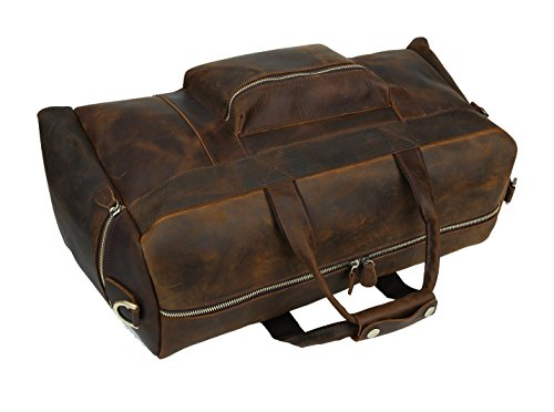 Polare 23'' Duffle Retro Thick Cowhide Leather Weekender Travel Duffel luggage Bag by Polare (Image #8)