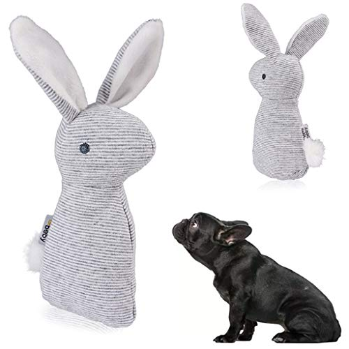 ペットの犬のおもちゃ、ぬいぐるみウサギの咬傷に強いおもちゃ犬ボーカル玩具、ぬいぐるみペット犬と犬のおもちゃ鳴き声と犬のおもちゃきしむおもちゃ、犬の圧力のおもちゃ運動ペットの体の人とペットのインタラクティブなおもちゃの耐久性を和らげる (グレー)の商品画像