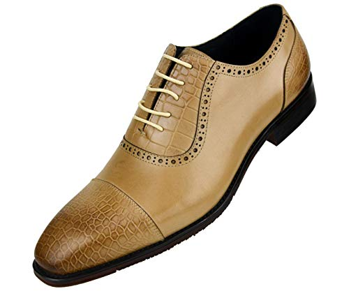 Asher Green Men's Genuine Leather Lace Up Oxford Dress Shoe with Croco Embossed Cap Toe, Vamp, and Backstay, Style AG3077 ()