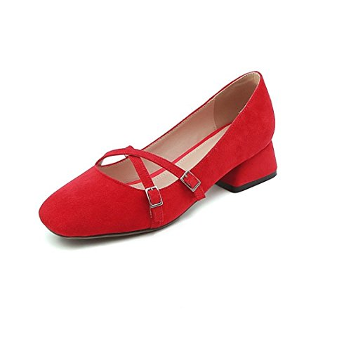 Stylish Summer y primavera otoño Low Zapatos Tacón with de Shoes Zapatos The and and Satin de Spring RFF Red verano Bold Large Iapw7