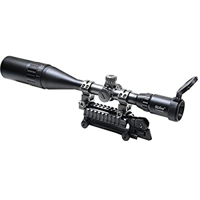 Vokul® Riflescope 6-24x50mm Optics Hunting AOE Red & Green& Blue Mil-dot Reticle Illuminated Crosshair Adjustable Intensified Rifle Scope with Free Mounts and Lens Cover Illuminated Level: 5 Intensity (Red) and 5 Intensity (Green)