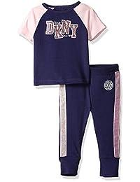DKNY Conjunto de Playera de Manga Corta y Pijama para Correr para niñas