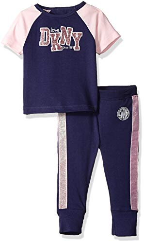 DKNY Girls' Big Short Sleeve T-Shirt and Jogger Sleepwear Set, Indigo, 12 from DKNY