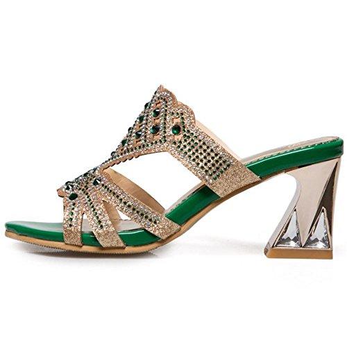 Melady Blocco Tacco Moda Mules green Donne Slides a 1 Sandali wffxqSOIr