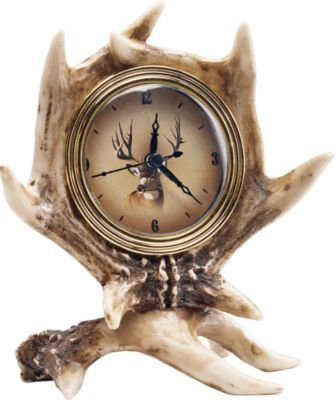 8 Inch Deer Antler Tabletop Desk Clock