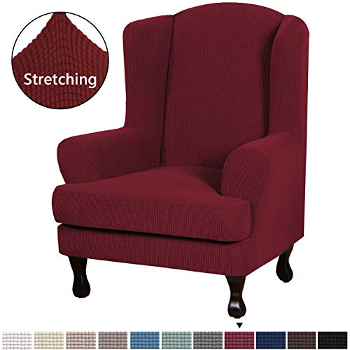 2 Piece Sofa Cover High Stretch Jacquard Fabric Furniture Slipcover Stay in Place Soft Spandex Form Fit Wing Back Armchair Slipcovers, Skid Resistance Machine Washable (Wing Chair, Burgundy Red)