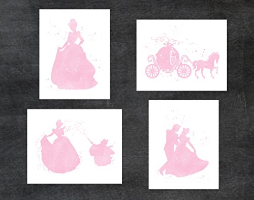 Cinderella and Disney Inspired - Set of 4 Pink Watercolor Poster Print Photo Quality - Made in USA - Frame not included (8x10, Cinderella 4 Pack - Pink) ()