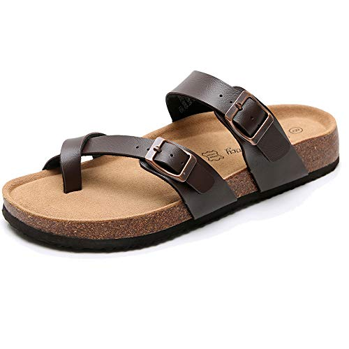 Real Fancy Women's Comfort Toe Ring Flat Cork Leather Sandals with Adjustable Buckle Strap Soft Cow Suede Open Toe Summer Slide Shoe Brown
