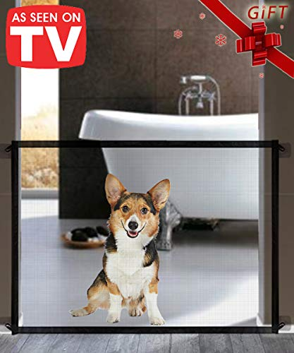 Queenii Magic Gate for Dogs, Pet Safety Gate, Portable Folding Mesh Magic Gate Baby Safety Gates, Safe Guard Install…