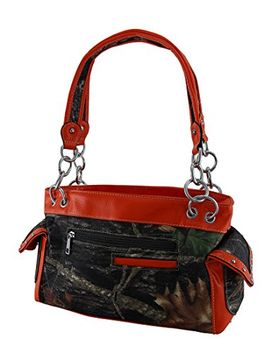 Handbags Camouflage Nylon Studded Womens Cross Orange Rhinestone Purse OqxZB85x