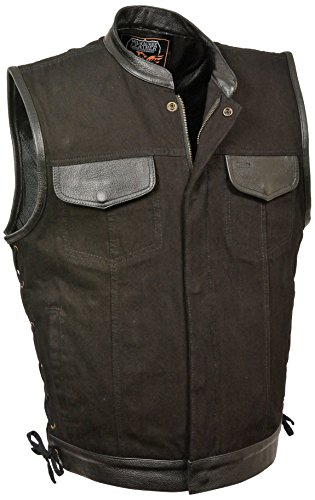 Milwaukee Men's Denim Club Vest with Leather Trims and Side Lace (Black, (Black Lthr Lace)