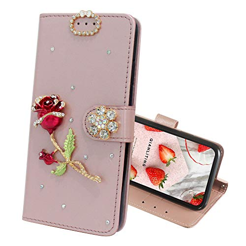 (IVY Q7 Wallet Cases [Synthetic Diamond Bling Pearl] Flip Cover for LG Q7+ - Rose Pink & Rose)