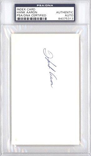 Hank Aaron Autographed 3x5 Index Card Vintage 1950's Signature #84075313 PSA/DNA Certified MLB Cut Signatures