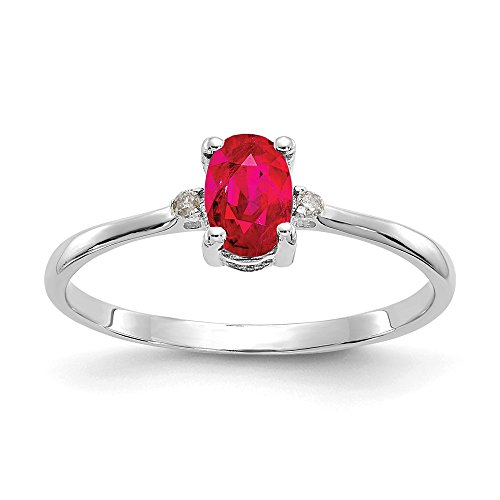 14k White Gold Diamond Red Ruby Birthstone Band Ring Size 6.00 Stone July Oval Fine Jewelry Gifts For Women For Her