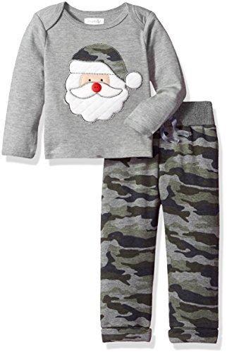 Mud Pie Baby Boys' Christmas Holiday Long Sleeve Two Piece Play Set, camo Santa, 9-12 MOS