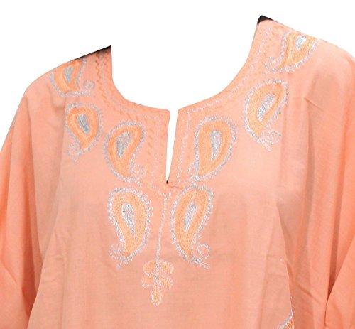 La Leela dames brodées 5 en 1 rayonne tunique assouplis ajustement haut soirée décontractée robe bikini kimono maillots de bain couvrir loungewear régulier de nuit beachwear short caftan orange,