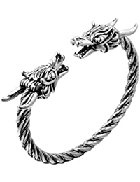 Norse Viking Double Dragon Head Twisted Bangle Cuff Bracelet Arm Ring Pagan Jewelry