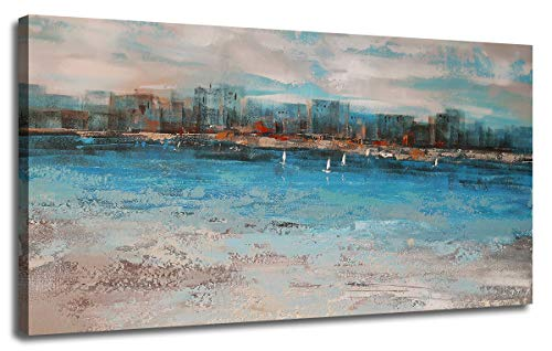 Canvas Wall Art Abstract Blue Cityscape One Panel Large Size Stretched and Framed, Comtemporary Coastal Sailing Boat Beach Picture Artwork for Living Room Bedroom Dinning Room Home Office Decor