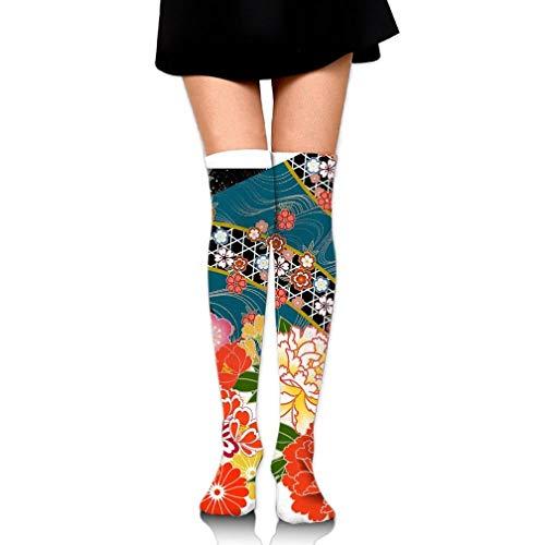 HUASEN Japanese Floral Wallpaper Over The Knee Long Socks Tube Thigh-High Sock Stockings For Girls & Womens