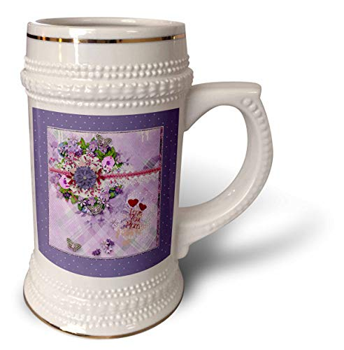 3dRose Beverly Turner Mothers Day Design - Love You Mom, Red Hearts, Purple Plaid, Lace, Flowers, Butterflies - 22oz Stein Mug (stn_304933_1) (Purple Heart Lace)