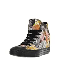 Converse Women's Chuck Taylor Lux Mid Black/Yellow Basketball Shoe 5.5 Women US