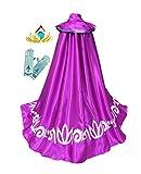 American Vogue Frozen Anna ELSA Coronation Costume Girl's Long Cape Cloak + Gloves +Tiara Crown (4 Years, Purple)