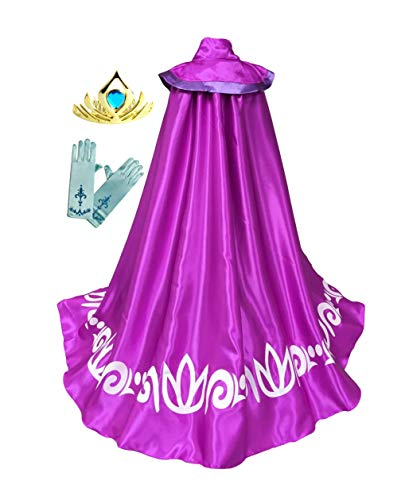 Frozen Anna Elsa Coronation Costume Girl's Long Cape Cloak Gloves Tiara Crown (2-3 Years, Purple) -