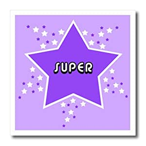 ht_24663_2 Janna Salak Designs Prints and Patterns - Purple Super Star Design - Iron on Heat Transfers - 6x6 Iron on Heat Transfer for White Material