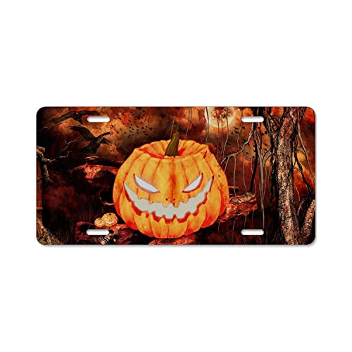 YEX Abstract Holiday Halloween Jack-o-Lantern Raven Tree S9 License Plate Frame Car Licence Plate Covers Auto Tag Holder 6