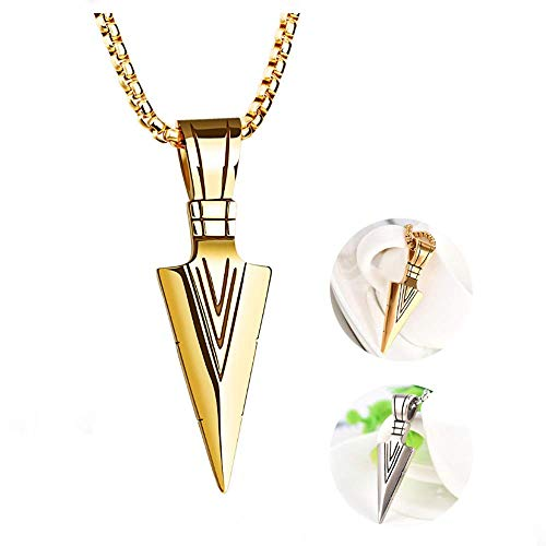 2 Pack Men's Fashion Spear Point Arrowhead Pendant Necklace Retro Metal Gold Silver Long Arrow Pendant Rolo Cable Sweater Chain Biker Punk Jewelry for Men Boys Personality Gifts (Arrowhead Necklace)