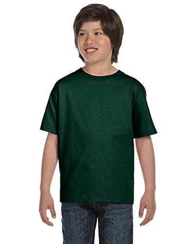(Hanes Boys' TAGLESS®, ComfortSoft®, Crewneck T-Shirt,X-Small, Deep Forest)