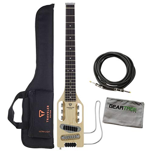 - Traveler Guitar Ultra-Light Full-Scale Natural Electric Guitar Bundle w/Cable an