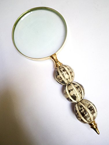 Antique Handheld Magnifier with 3 inch Premium Brass Framed Magnifying Glass with Wood Bead Crafted Handle | Office Ware Decorative Zooming Lens | for Father/Mother/Thanksgiving/Anniversary