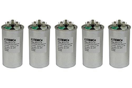 TEMCo 5 LOT Dual Run Capacitor RC0139-30/5 mfd 370 V 440 V VAC Volt 30+5 uf AC Electric Motor HVAC