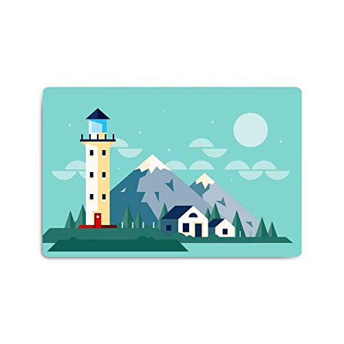 Personalized Halloween Pattern Print Design Placemats,Skid-Resistant Carpet Indoor Area Rug Floor Mat - 16 x 24(in) Seaside House Building Watchtower