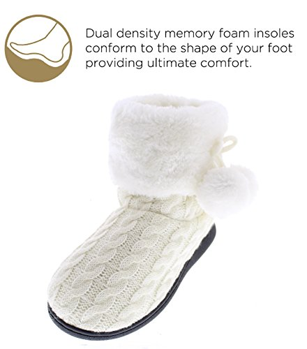 Verica Women's Bootie Gold Cable Toe Cuff Pom Knit Ivory Indoor Pom Slipper Goldtoe Sweater Outdoor wqtCgpCnxE