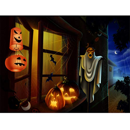 Weite Halloween 5D DIY Diamond Painting, Scarey Window Fence Pumpkins of Crystals Embroidery Kit, Exquisite Wall Stickers for Living Room Decoration (40X30CM) (B)