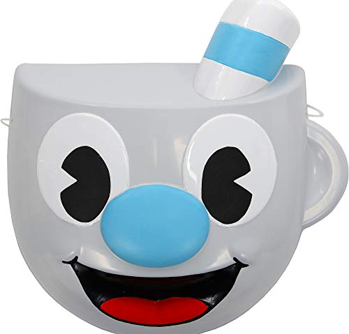 Mugman Mask King Features Cuphead Halloween Costume Accessory, One Size, 10 1/4