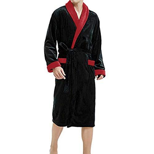 iLXHD Winter Clothes Mens Fleece Kimono Robe Plush Collar Shawl Bathrobe with Pockets Red