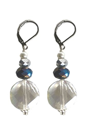 Pearl Prism Blue - Clear Sparkle with Sapphire Blue Prisms and Silver with Pearls Drop Earrings with Leverbacks