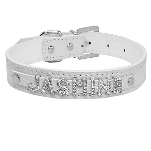 LOVELY Rhinestone Dog Collars Leather Customized Pet Puppy Cat Collar For Small Medium Dogs White M