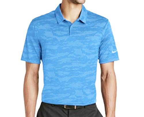 New Nike Men's Dri-FIT Wave Camo Jacquard Golf Polo Shirt Light Blue Size XL